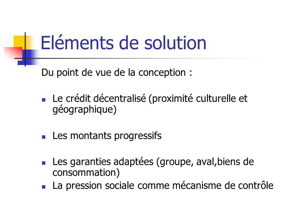 Eléments de solution Du point de vue de la conception : Le crédit décentralisé (proximité culturelle et géographique) Les montants progressifs Les gar