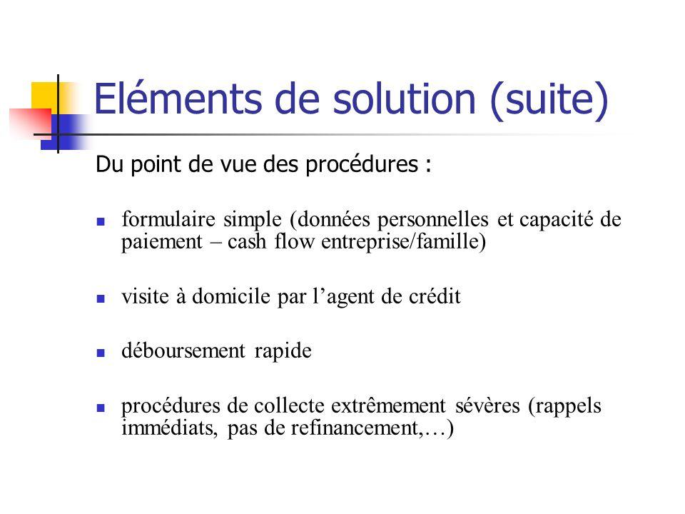 Eléments de solution (suite) Du point de vue des procédures : formulaire simple (données personnelles et capacité de paiement – cash flow entreprise/f