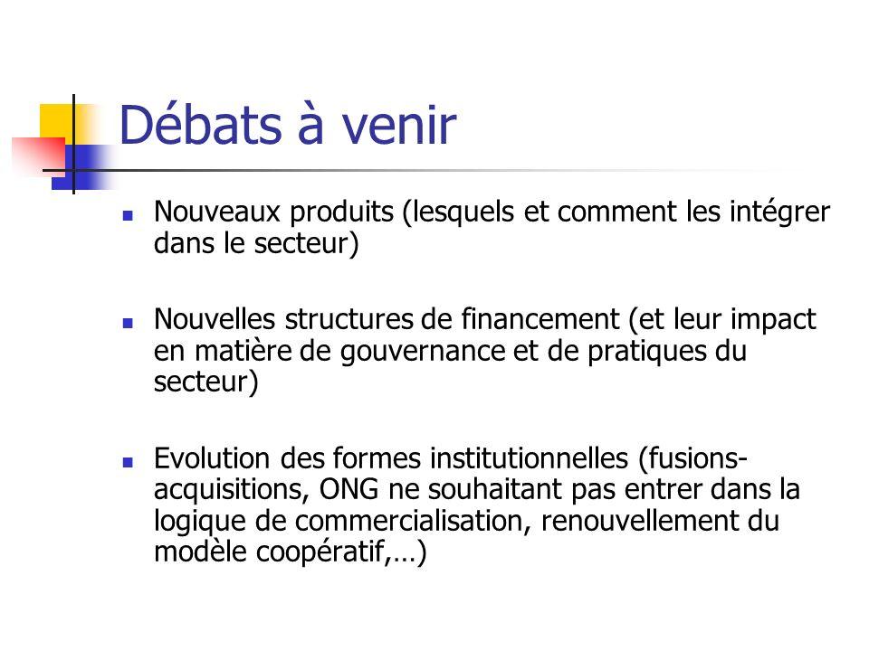 Débats à venir Nouveaux produits (lesquels et comment les intégrer dans le secteur) Nouvelles structures de financement (et leur impact en matière de