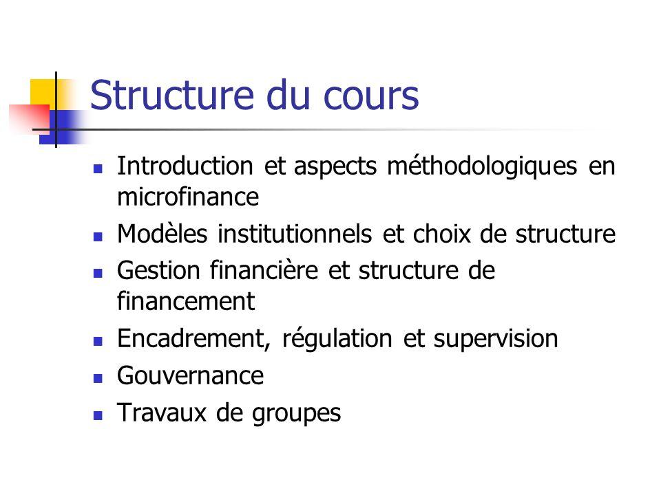 Structure du cours Introduction et aspects méthodologiques en microfinance Modèles institutionnels et choix de structure Gestion financière et structu