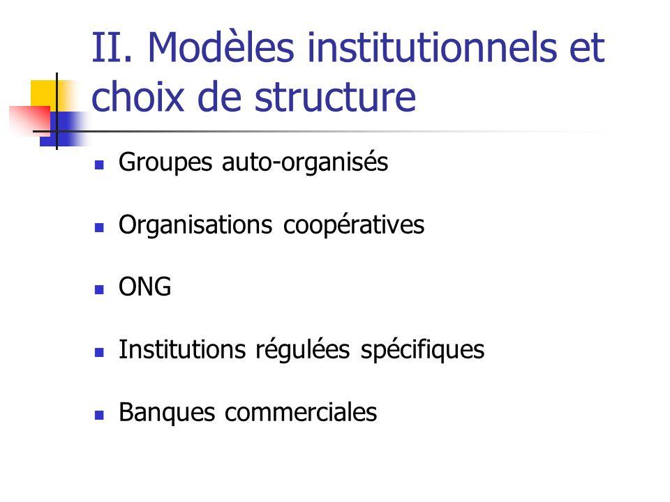 II. Modèles institutionnels et choix de structure Groupes auto-organisés Organisations coopératives ONG Institutions régulées spécifiques Banques comm
