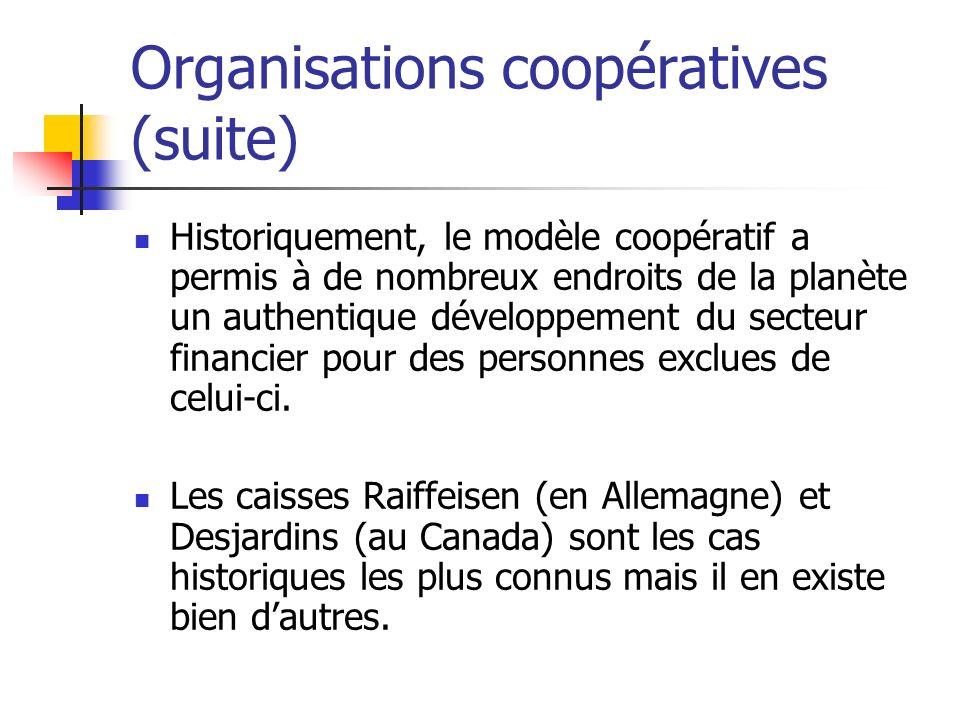 Organisations coopératives (suite) Historiquement, le modèle coopératif a permis à de nombreux endroits de la planète un authentique développement du