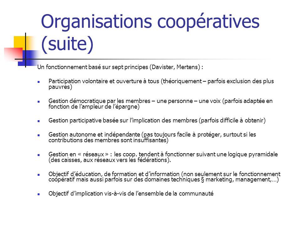 Organisations coopératives (suite) Un fonctionnement basé sur sept principes (Davister, Mertens) : Participation volontaire et ouverture à tous (théor