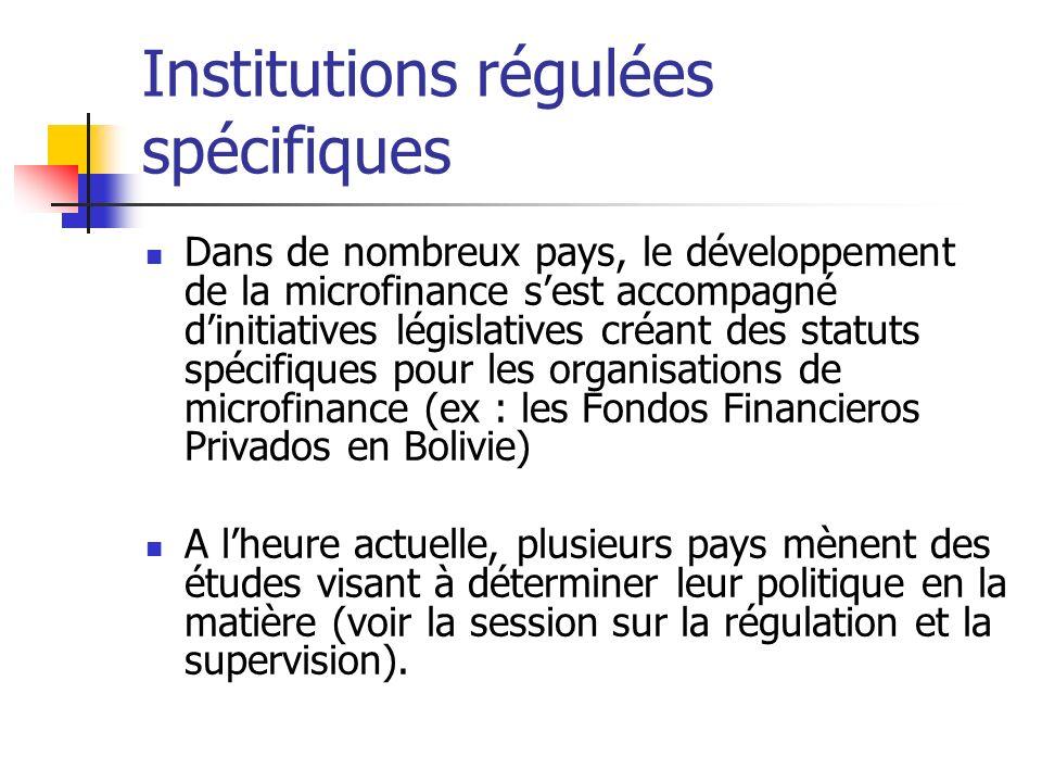 Institutions régulées spécifiques Dans de nombreux pays, le développement de la microfinance sest accompagné dinitiatives législatives créant des stat