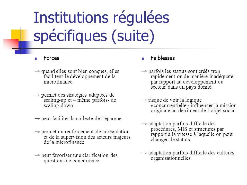 Institutions régulées spécifiques (suite) Forces quand elles sont bien conçues, elles facilitent le développement de la microfinance. permet des strat