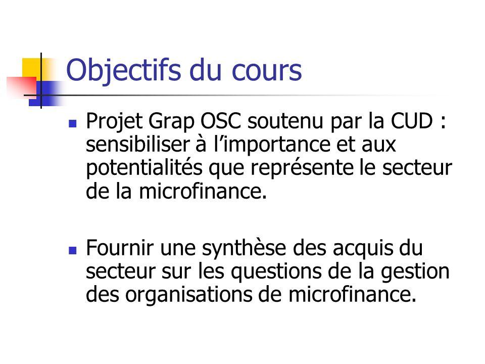 Objectifs du cours Projet Grap OSC soutenu par la CUD : sensibiliser à limportance et aux potentialités que représente le secteur de la microfinance.
