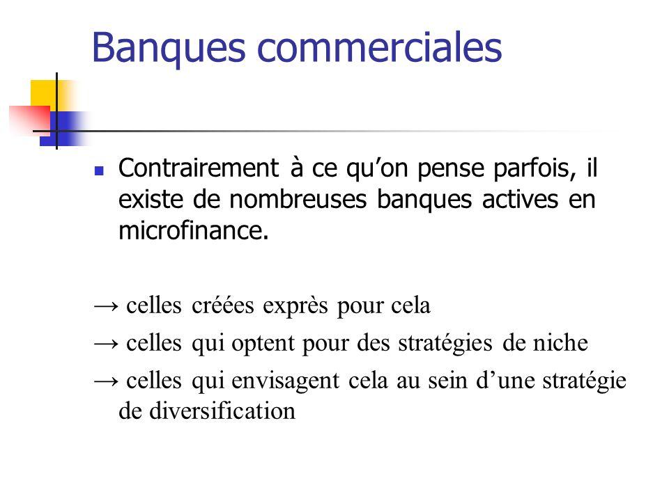 Banques commerciales Contrairement à ce quon pense parfois, il existe de nombreuses banques actives en microfinance. celles créées exprès pour cela ce