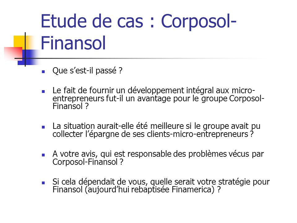 Etude de cas : Corposol- Finansol Que sest-il passé ? Le fait de fournir un développement intégral aux micro- entrepreneurs fut-il un avantage pour le