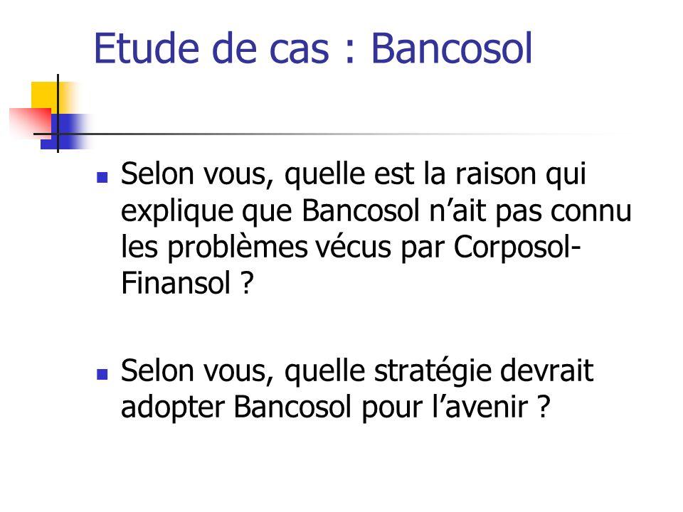 Etude de cas : Bancosol Selon vous, quelle est la raison qui explique que Bancosol nait pas connu les problèmes vécus par Corposol- Finansol ? Selon v
