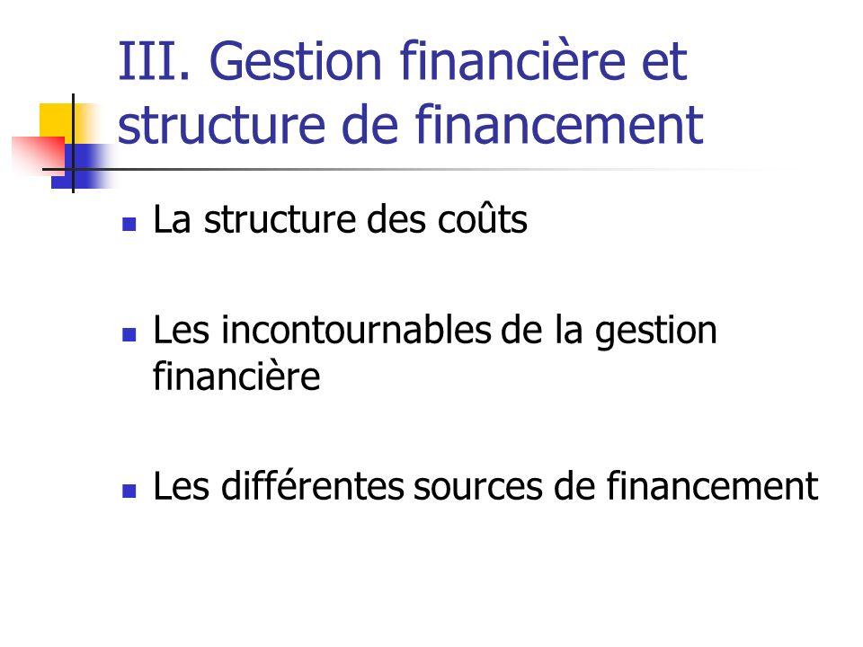 III. Gestion financière et structure de financement La structure des coûts Les incontournables de la gestion financière Les différentes sources de fin