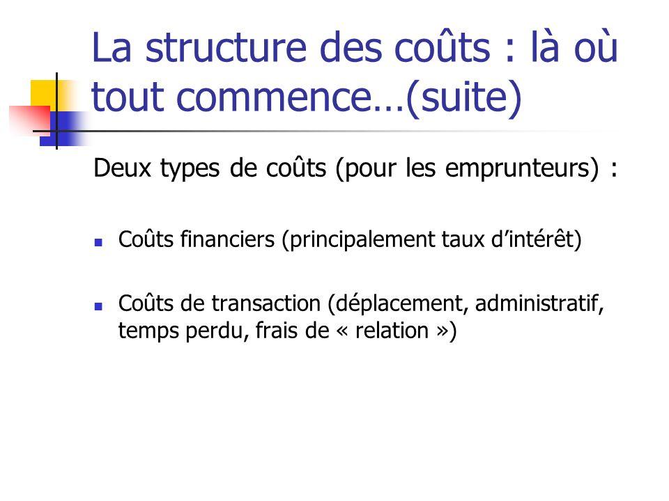 La structure des coûts : là où tout commence…(suite) Deux types de coûts (pour les emprunteurs) : Coûts financiers (principalement taux dintérêt) Coût