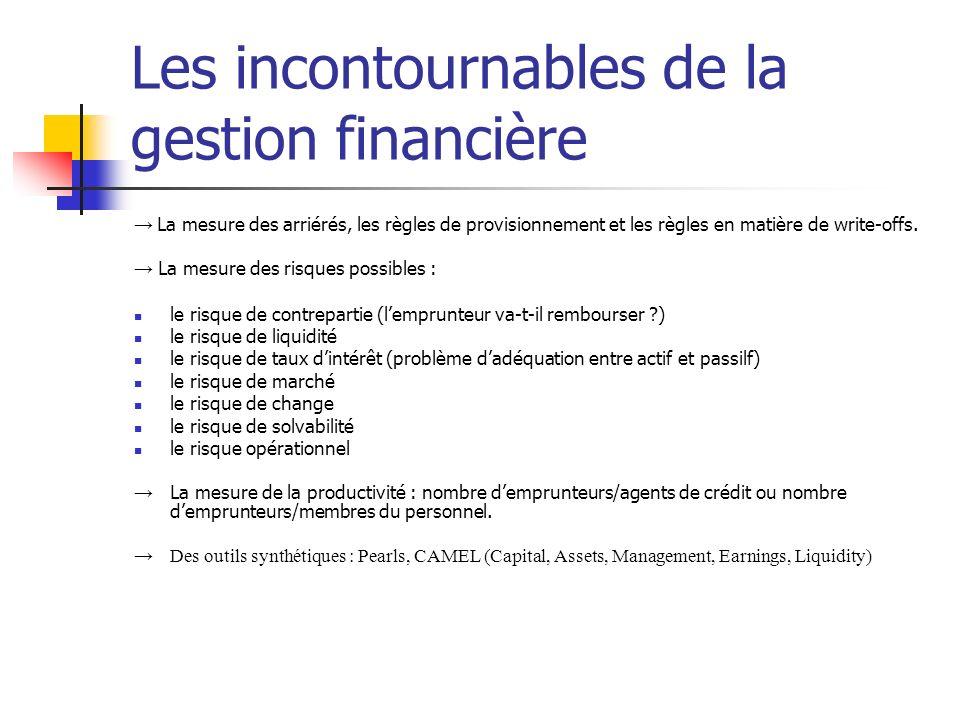 Les incontournables de la gestion financière La mesure des arriérés, les règles de provisionnement et les règles en matière de write-offs. La mesure d