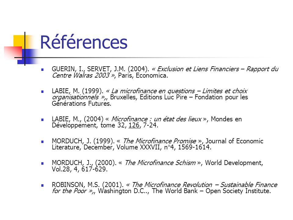Références GUERIN, I., SERVET, J.M. (2004). « Exclusion et Liens Financiers – Rapport du Centre Walras 2003 », Paris, Economica. LABIE, M. (1999). « L