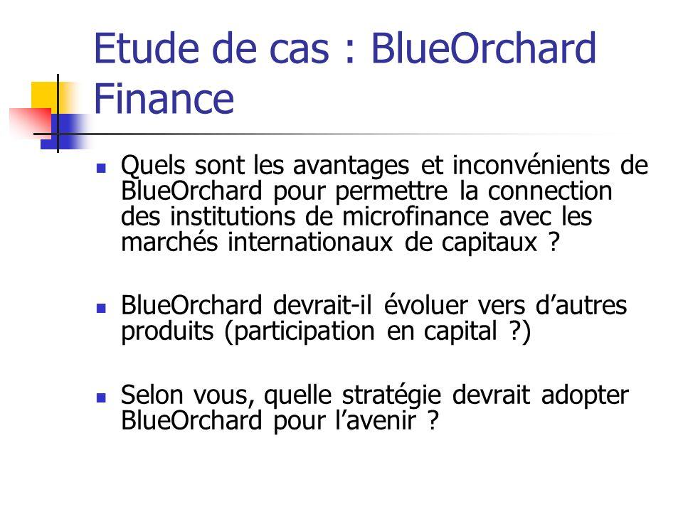 Etude de cas : BlueOrchard Finance Quels sont les avantages et inconvénients de BlueOrchard pour permettre la connection des institutions de microfina