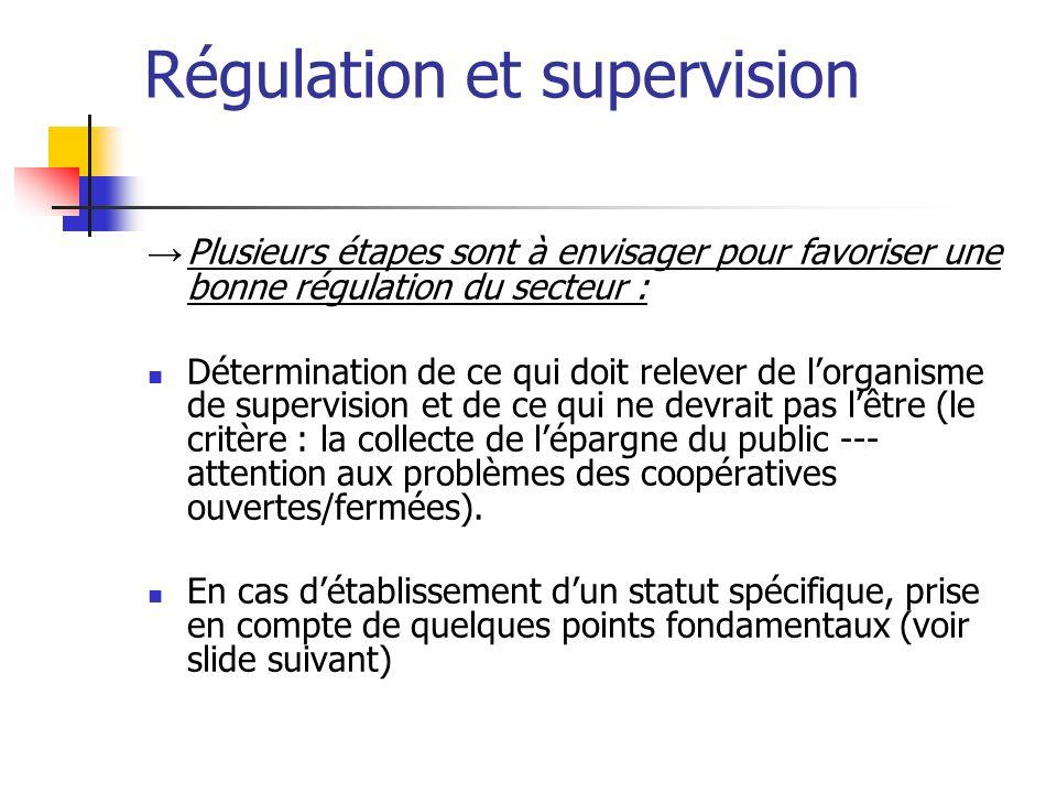 Régulation et supervision Plusieurs étapes sont à envisager pour favoriser une bonne régulation du secteur : Détermination de ce qui doit relever de l