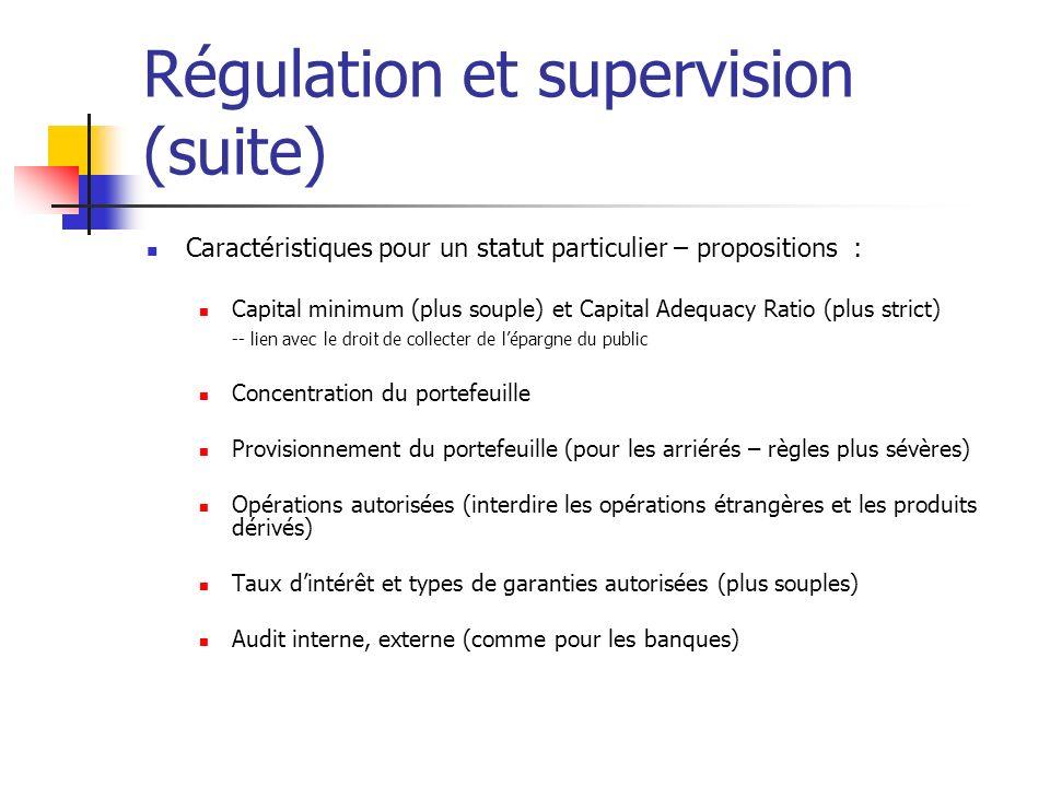 Régulation et supervision (suite) Caractéristiques pour un statut particulier – propositions : Capital minimum (plus souple) et Capital Adequacy Ratio