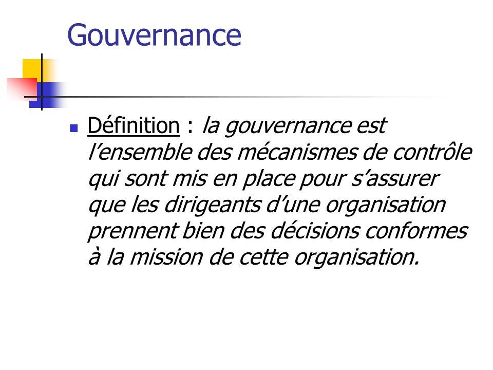 Gouvernance Définition : la gouvernance est lensemble des mécanismes de contrôle qui sont mis en place pour sassurer que les dirigeants dune organisat