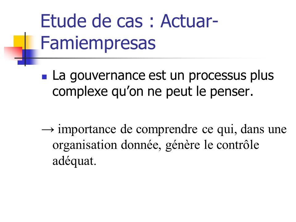 Etude de cas : Actuar- Famiempresas La gouvernance est un processus plus complexe quon ne peut le penser. importance de comprendre ce qui, dans une or