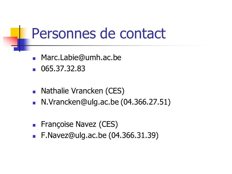 Personnes de contact Marc.Labie@umh.ac.be 065.37.32.83 Nathalie Vrancken (CES) N.Vrancken@ulg.ac.be (04.366.27.51) Françoise Navez (CES) F.Navez@ulg.a