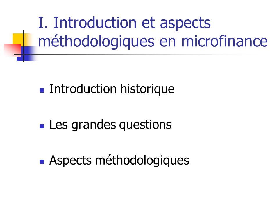 I. Introduction et aspects méthodologiques en microfinance Introduction historique Les grandes questions Aspects méthodologiques