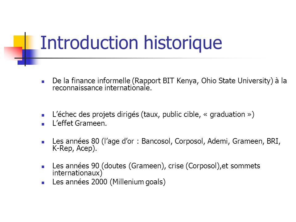 Introduction historique De la finance informelle (Rapport BIT Kenya, Ohio State University) à la reconnaissance internationale. Léchec des projets dir