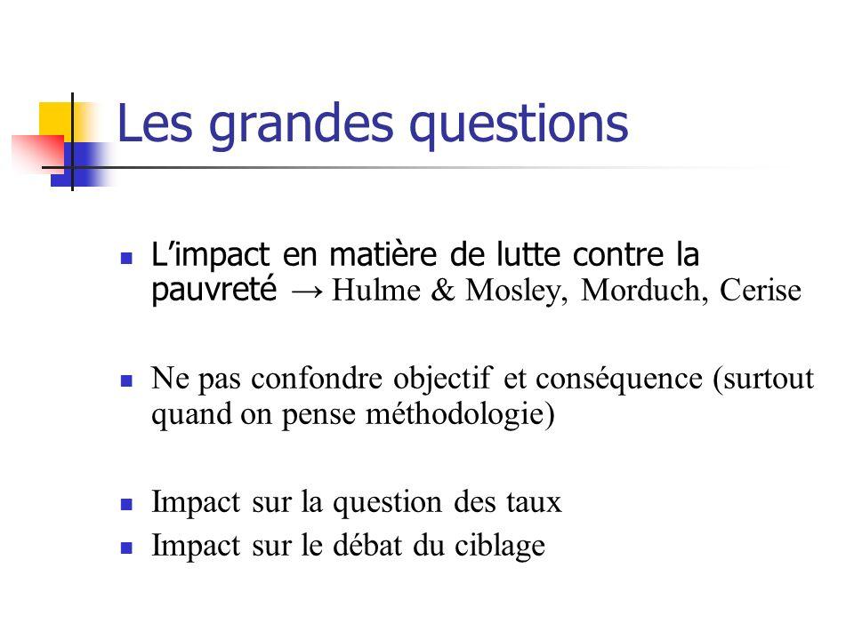Les grandes questions Limpact en matière de lutte contre la pauvreté Hulme & Mosley, Morduch, Cerise Ne pas confondre objectif et conséquence (surtout