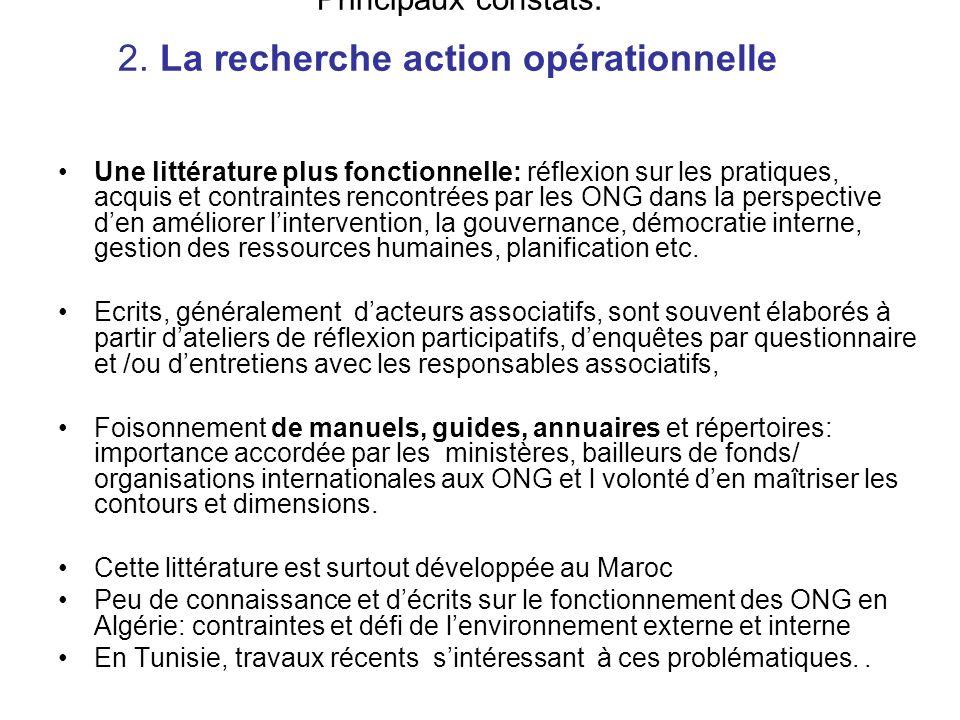 Principaux constats: 2. La recherche action opérationnelle Une littérature plus fonctionnelle: réflexion sur les pratiques, acquis et contraintes renc