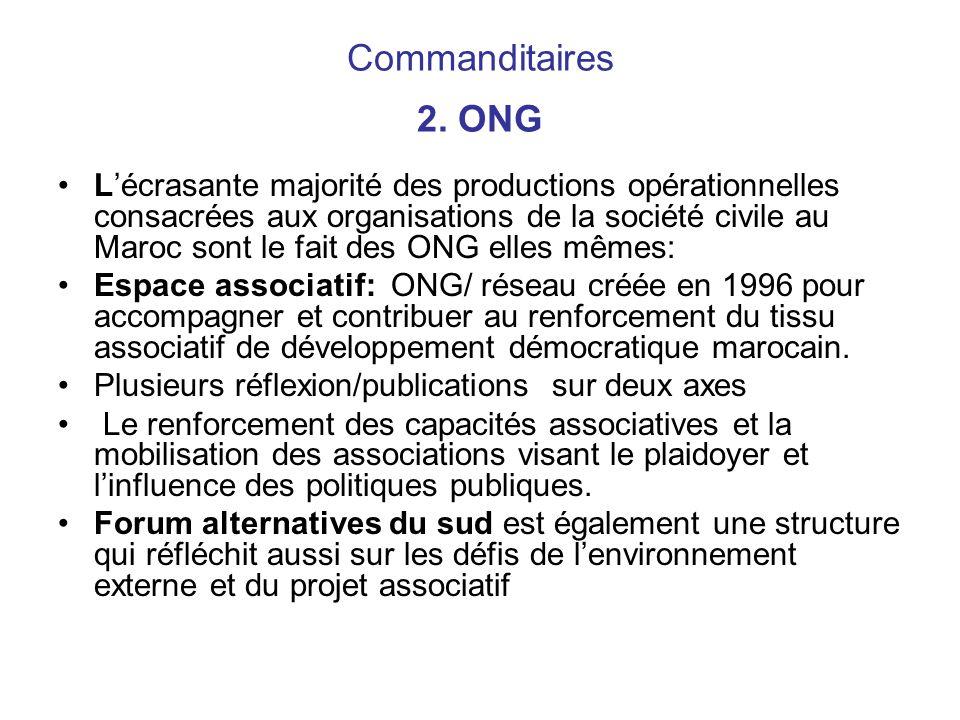 Commanditaires 2. ONG Lécrasante majorité des productions opérationnelles consacrées aux organisations de la société civile au Maroc sont le fait des