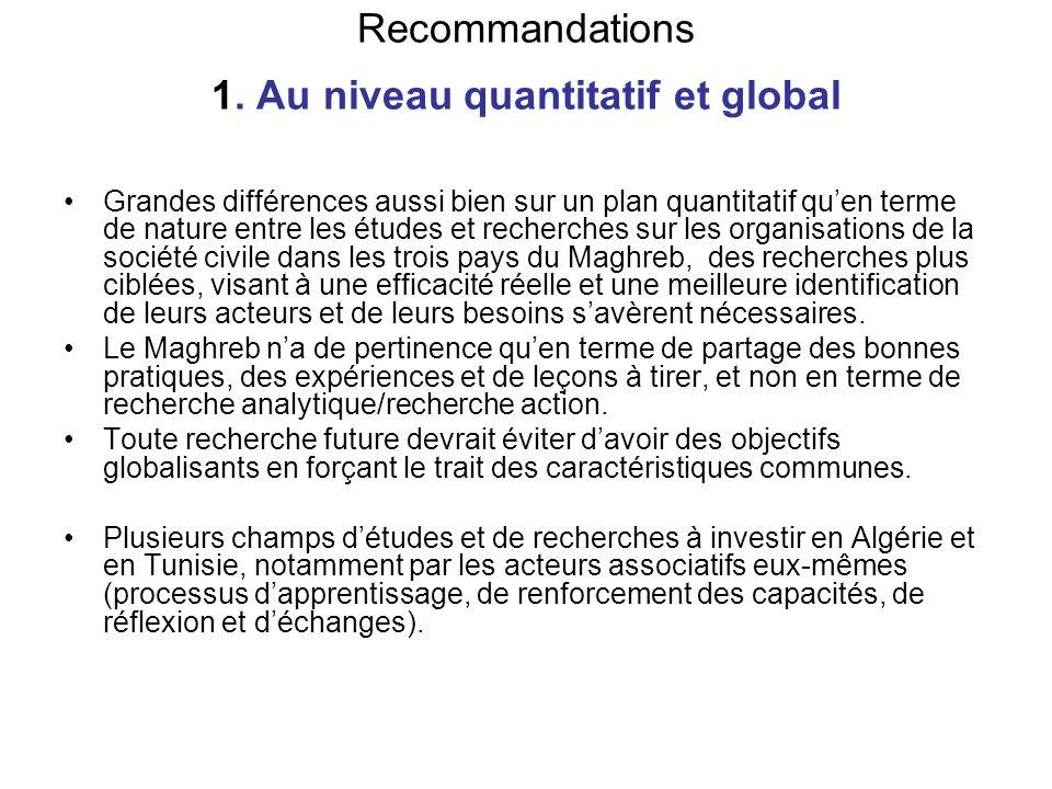 Recommandations 1. Au niveau quantitatif et global Grandes différences aussi bien sur un plan quantitatif quen terme de nature entre les études et rec