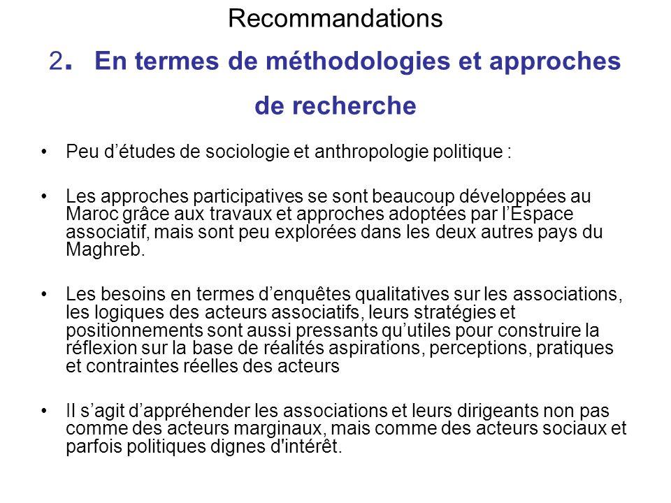 Recommandations 2. En termes de méthodologies et approches de recherche Peu détudes de sociologie et anthropologie politique : Les approches participa