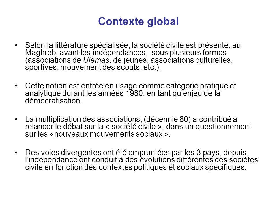 Contexte global Selon la littérature spécialisée, la société civile est présente, au Maghreb, avant les indépendances, sous plusieurs formes (associat
