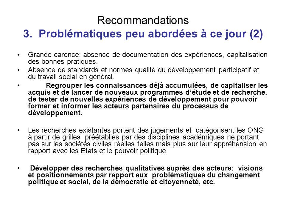 Recommandations 3. Problématiques peu abordées à ce jour (2) Grande carence: absence de documentation des expériences, capitalisation des bonnes prati