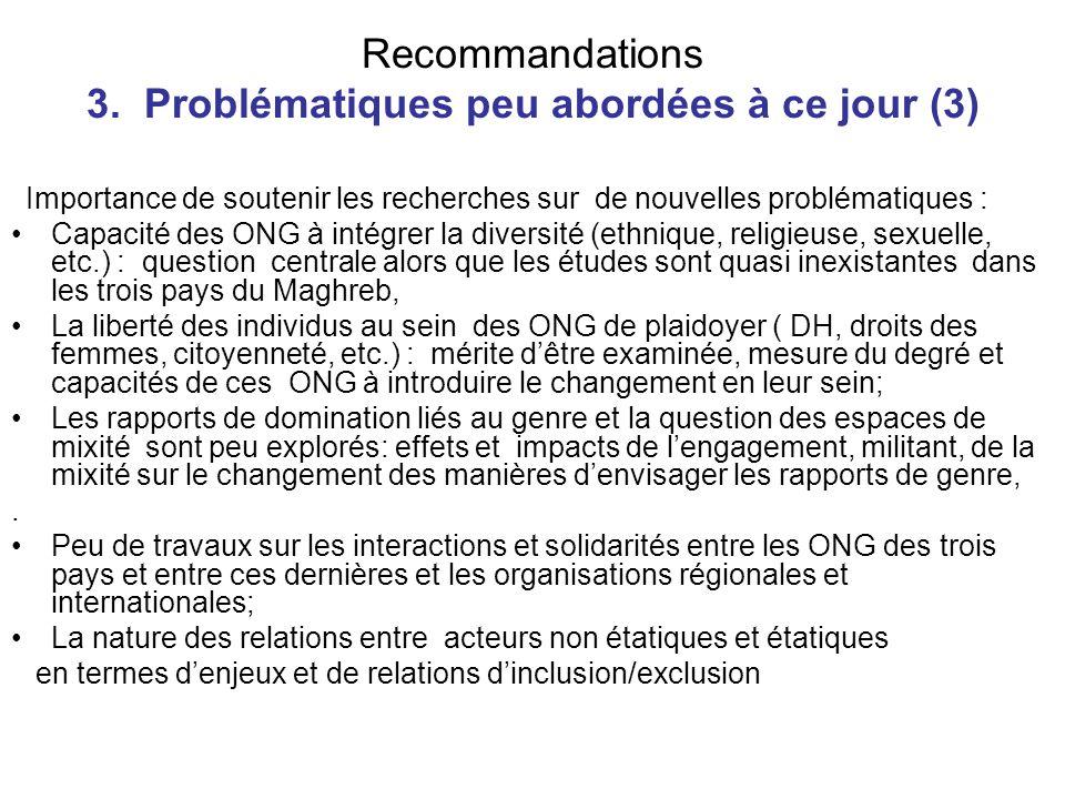 Recommandations 3. Problématiques peu abordées à ce jour (3) Importance de soutenir les recherches sur de nouvelles problématiques : Capacité des ONG