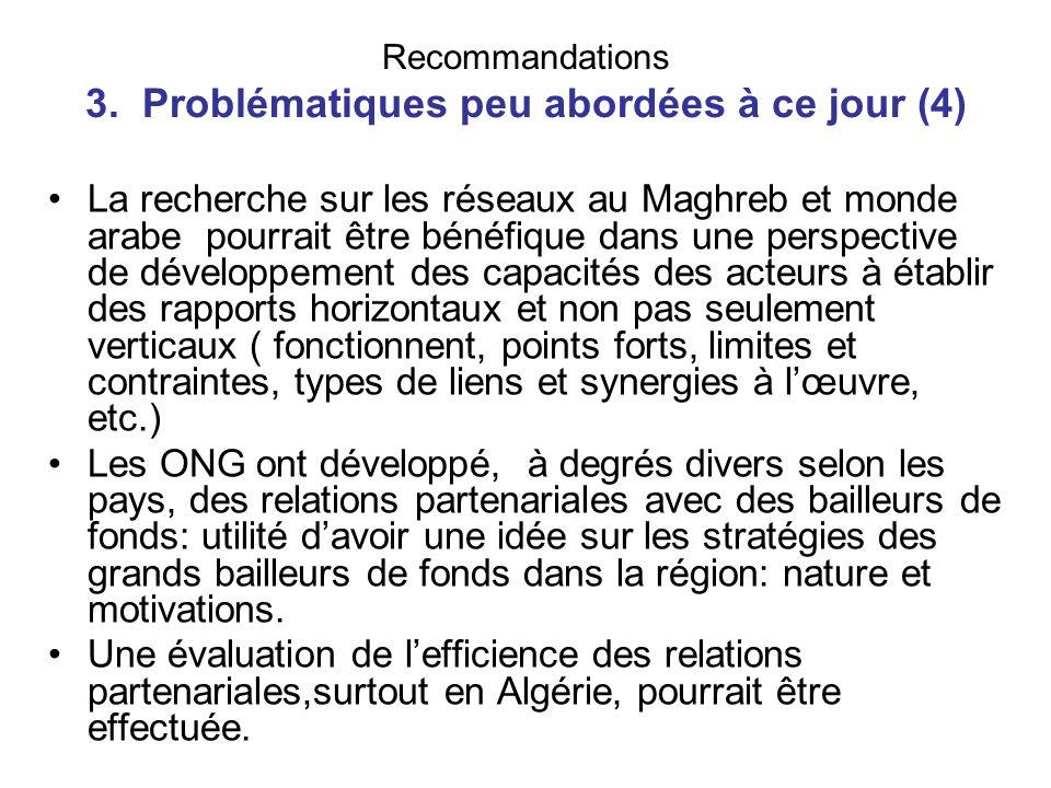Recommandations 3. Problématiques peu abordées à ce jour (4) La recherche sur les réseaux au Maghreb et monde arabe pourrait être bénéfique dans une p