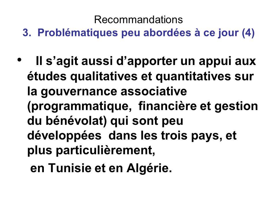 Recommandations 3. Problématiques peu abordées à ce jour (4) Il sagit aussi dapporter un appui aux études qualitatives et quantitatives sur la gouvern