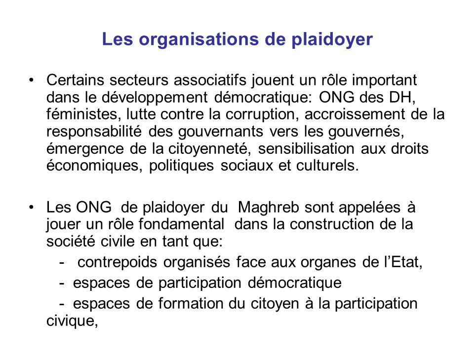 Les organisations de plaidoyer Certains secteurs associatifs jouent un rôle important dans le développement démocratique: ONG des DH, féministes, lutt