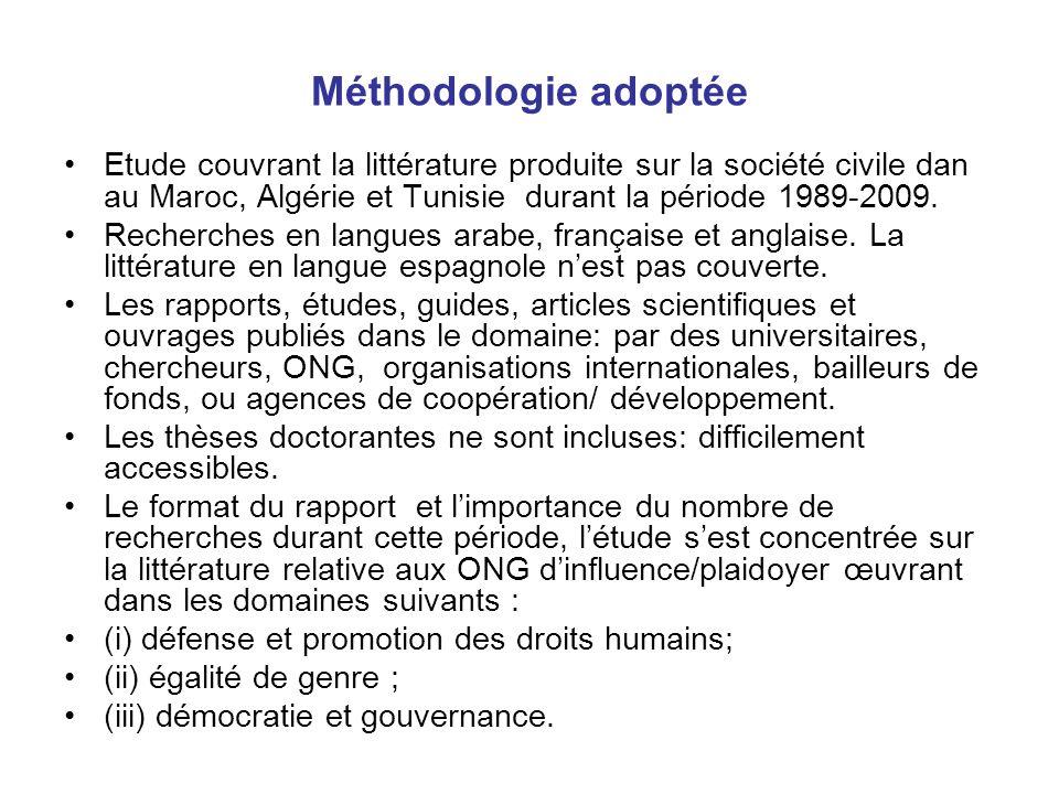 Méthodologie adoptée Etude couvrant la littérature produite sur la société civile dan au Maroc, Algérie et Tunisie durant la période 1989-2009. Recher