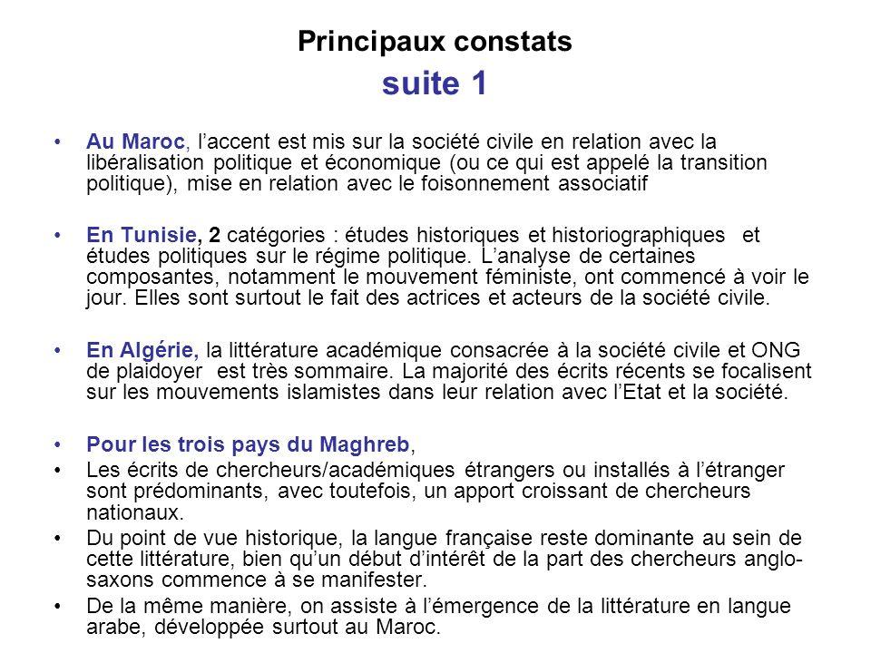 Principaux constats suite 1 Au Maroc, laccent est mis sur la société civile en relation avec la libéralisation politique et économique (ou ce qui est