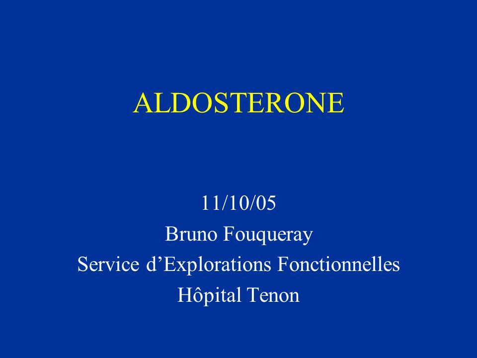 Données classiques sur laldostérone Laldostérone est une hormone dorigine surrénalienne Qui agit au niveau rénal Et a des effets sur lhoméostasie du Na + et du K +.