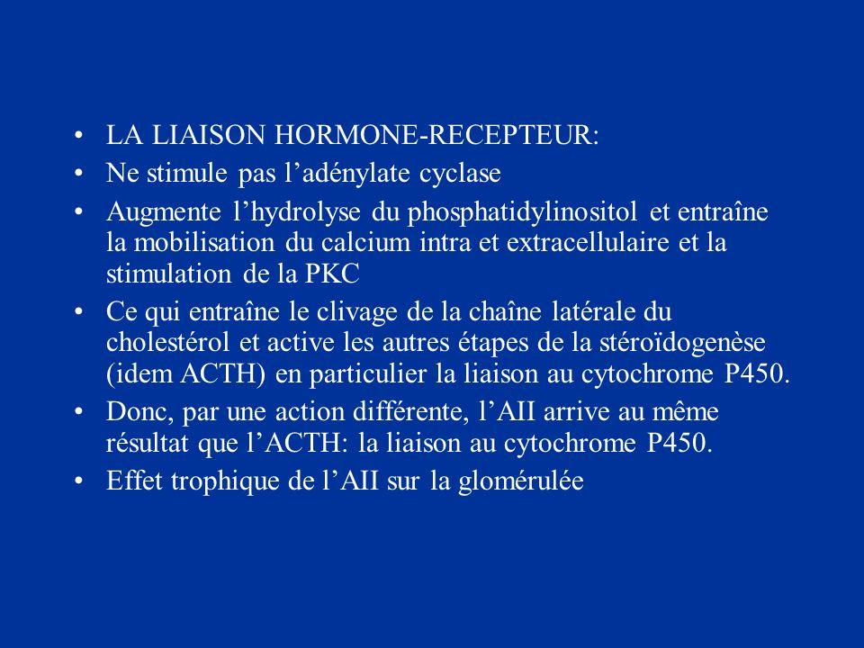 LA LIAISON HORMONE-RECEPTEUR: Ne stimule pas ladénylate cyclase Augmente lhydrolyse du phosphatidylinositol et entraîne la mobilisation du calcium int