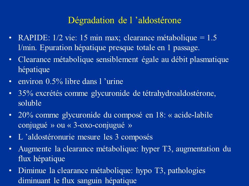 Dégradation de l aldostérone RAPIDE: 1/2 vie: 15 min max; clearance métabolique = 1.5 l/min. Epuration hépatique presque totale en 1 passage. Clearanc