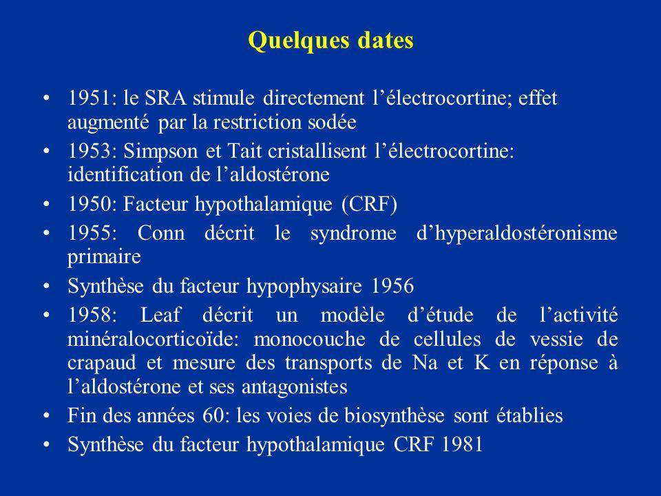 Régulation de la synthèse: angiotensine II ANGIOTENSINE II –SRA –Sécrétion de rénine: Na, Pression artériole afférente, stimulation adrénergique –Rénine + angiotensinogène Angio I + enzyme de conversion – Angiotensine II + peptidases Angiotensine III A II et A III: même activité et même ½ vie Concentrations différentes (AII 20 fois supérieures à celles dAIII) Stimulent à la fois les stades Précoce et Tardif de la synthèse Mode daction: Angiotensine II se lie aux récepteurs de surface des cellules de la zone glomérulée avec une affinité denviron 0.5 nM, le nombre de ces récepteurs augmentant avec la stimulation par langiotensine II et la kaliémie.