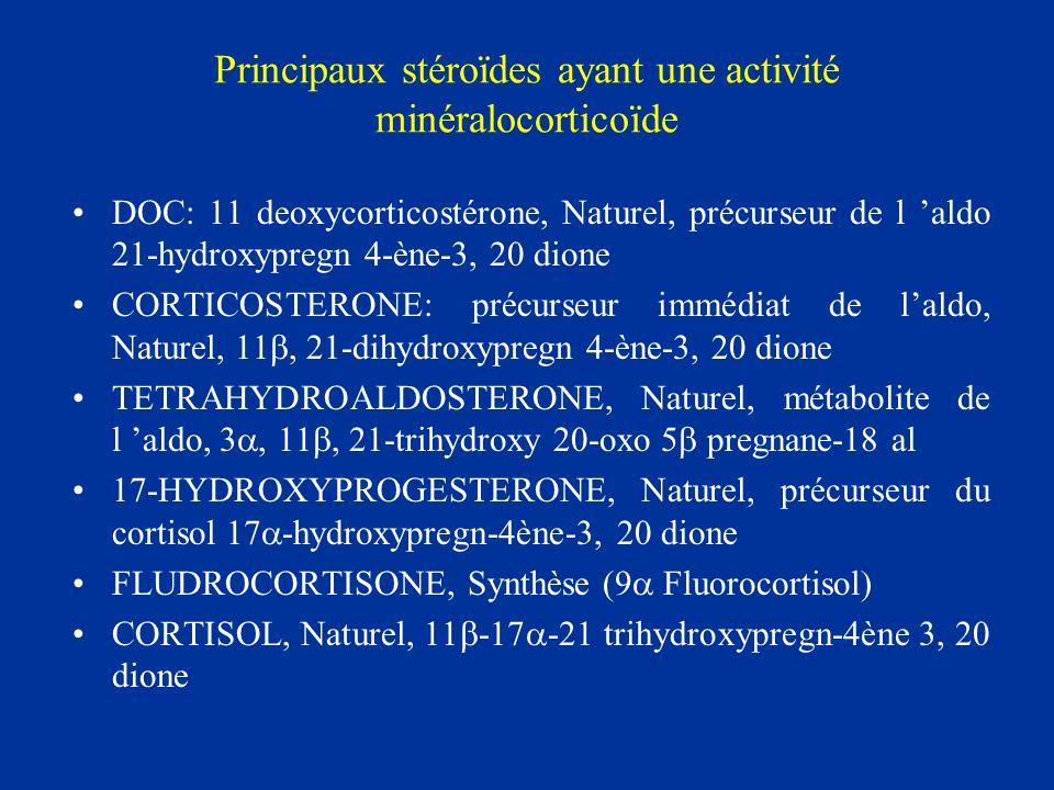Principaux stéroïdes ayant une activité minéralocorticoïde DOC: 11 deoxycorticostérone, Naturel, précurseur de l aldo 21-hydroxypregn 4-ène-3, 20 dion