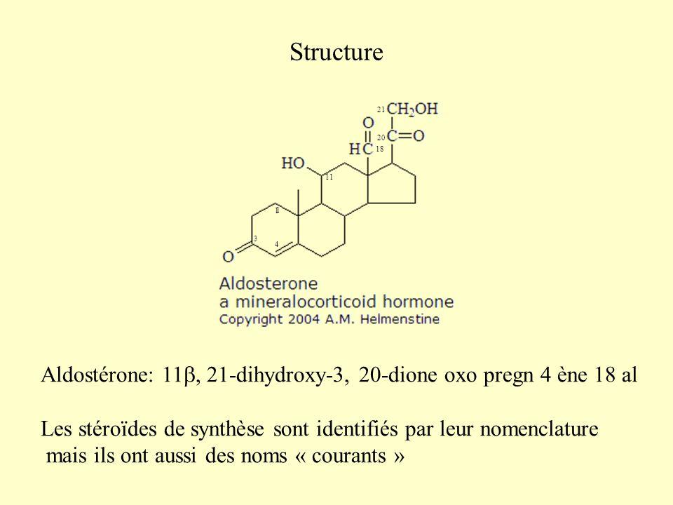 Structure Aldostérone: 11, 21-dihydroxy-3, 20-dione oxo pregn 4 ène 18 al Les stéroïdes de synthèse sont identifiés par leur nomenclature mais ils ont