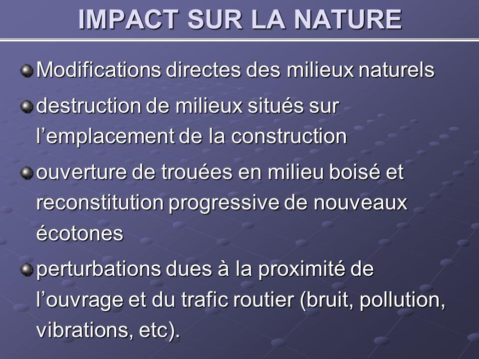 IMPACT SUR LA NATURE Modifications directes des milieux naturels destruction de milieux situés sur lemplacement de la construction ouverture de trouée