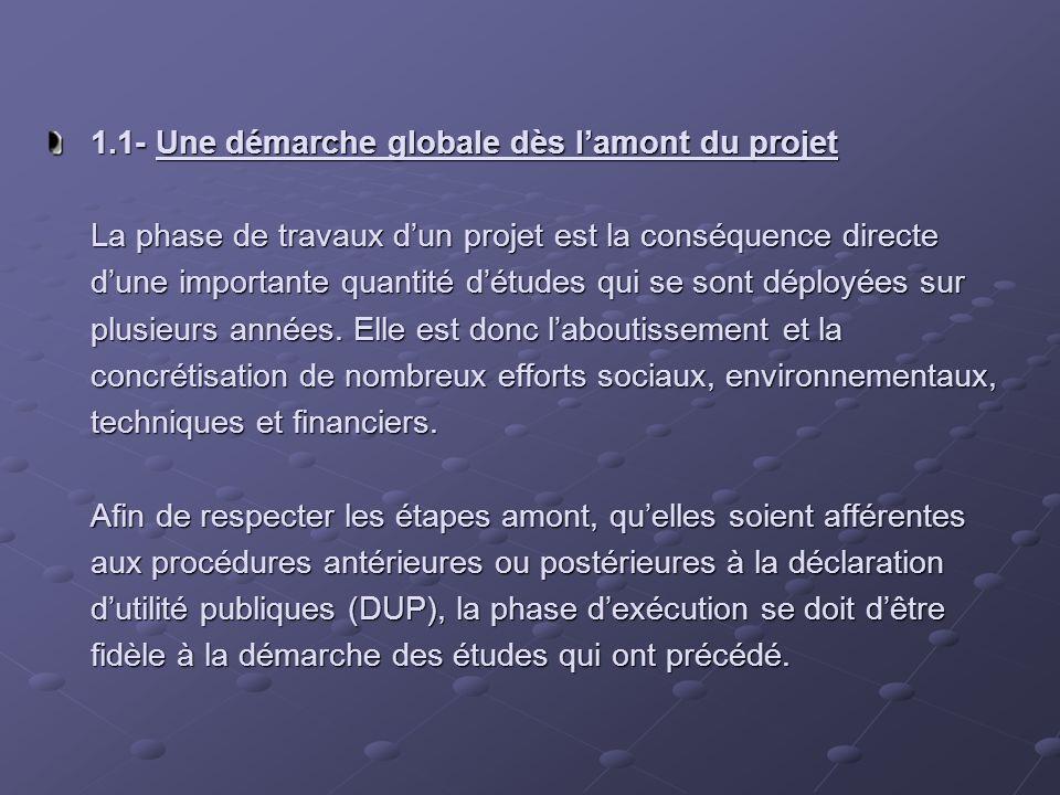 1.1- Une démarche globale dès lamont du projet La phase de travaux dun projet est la conséquence directe dune importante quantité détudes qui se sont déployées sur plusieurs années.