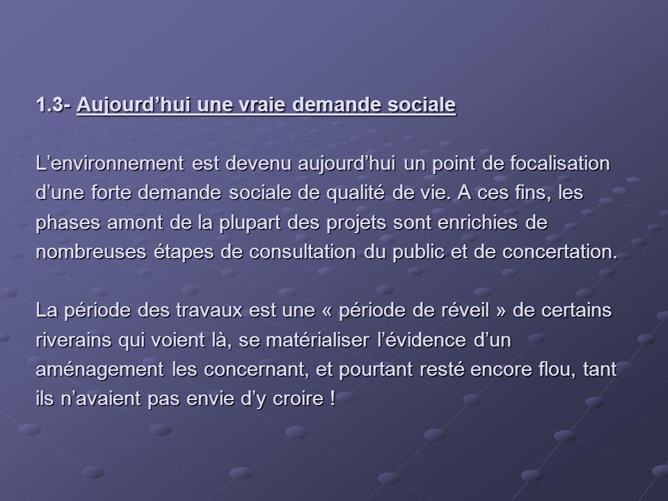 1.3- Aujourdhui une vraie demande sociale Lenvironnement est devenu aujourdhui un point de focalisation dune forte demande sociale de qualité de vie.