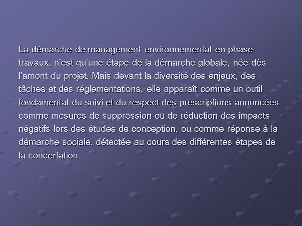 La démarche de management environnemental en phase travaux, nest quune étape de la démarche globale, née dès lamont du projet. Mais devant la diversit
