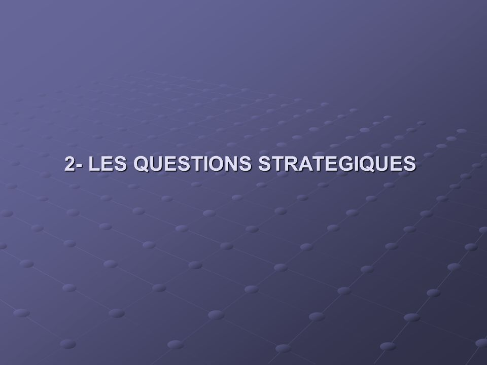 2- LES QUESTIONS STRATEGIQUES