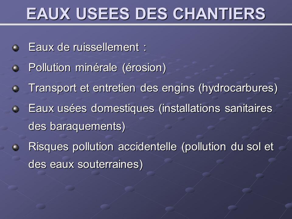 EAUX USEES DES CHANTIERS Eaux de ruissellement : Pollution minérale (érosion) Transport et entretien des engins (hydrocarbures) Eaux usées domestiques